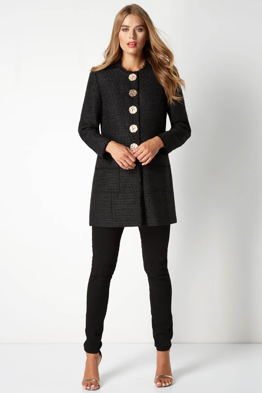 Roman Originals Womens Long Sleeved Coat in Black Sizes 10-20