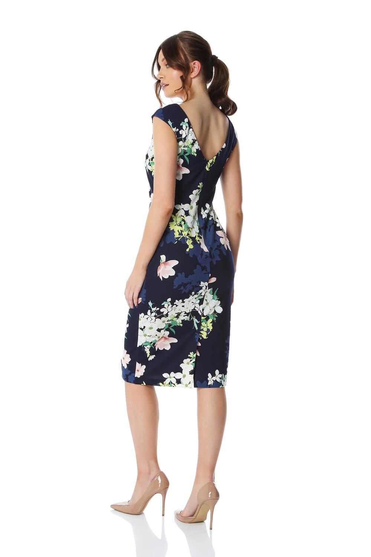 Roman Originals Women Twist Front Floral Print Dress