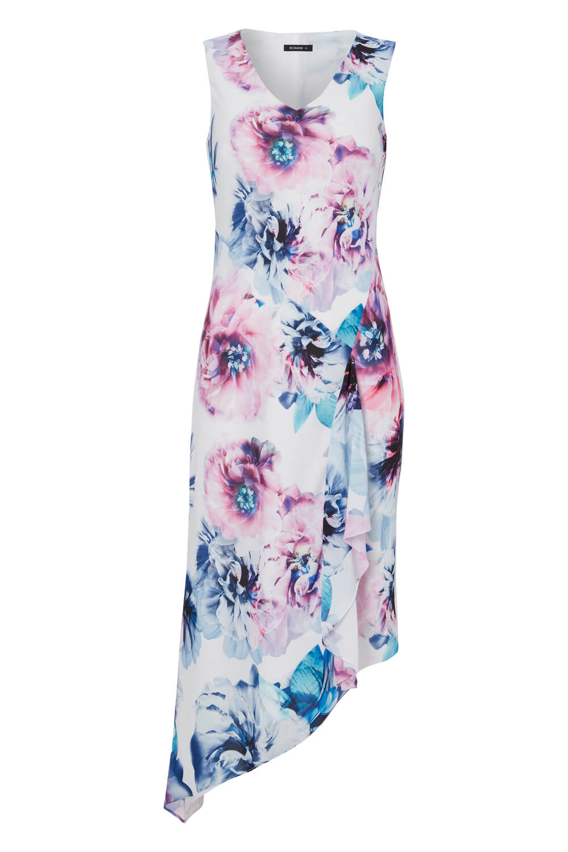 Roman Originals Women/'s Ivory Floral Print Asymmetric Dress Sizes 10-20