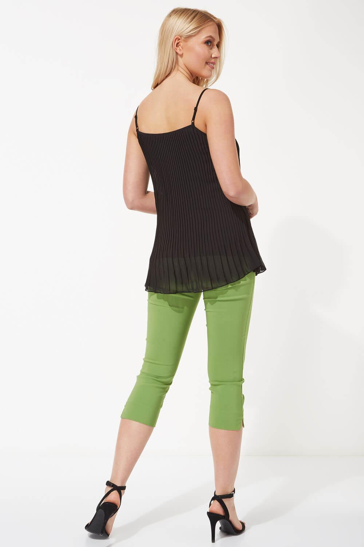 Pleated Lace Trim Sleeveless Cami Vest Top Ladies Roman Originals Women