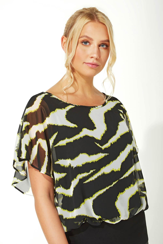 Roman Originals Women Zebra Print Blouson Top
