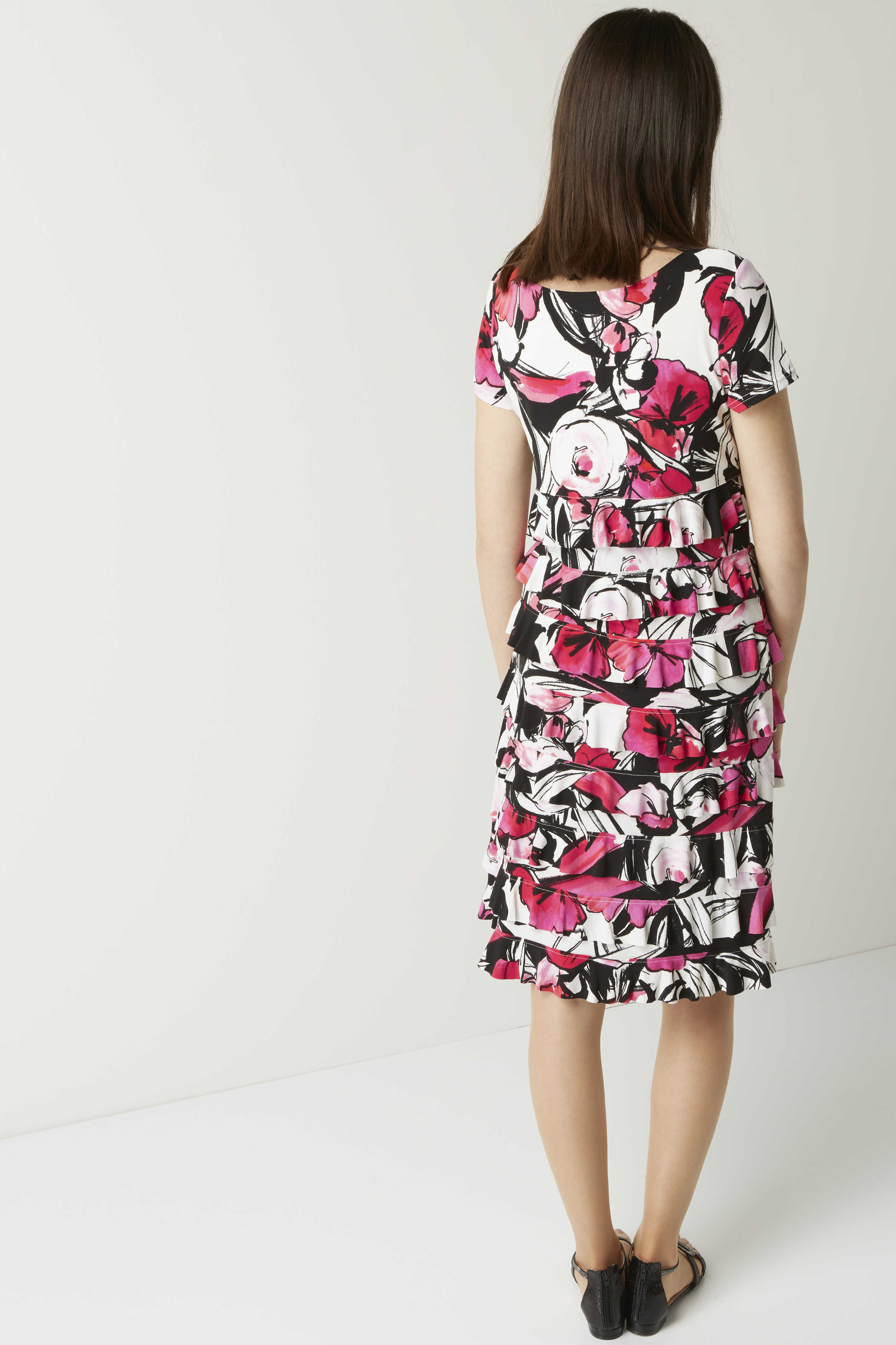 Roman Originals Ladies Floral Print Frill Jersey Dress Cerise