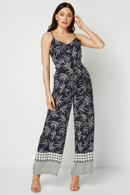 Roman Originals Women Leaf Border Print Jumpsuit