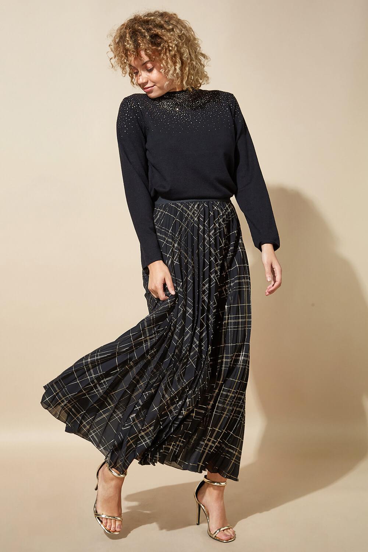 Métallisé carreaux plissé Maxi jupe femmes Roman Originals Femmes