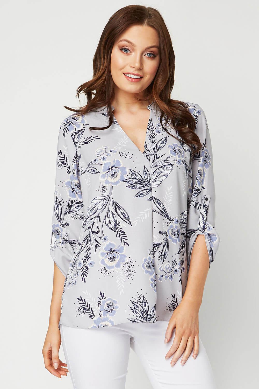 Roman Originals Women Blue Floral Oversize Shirt