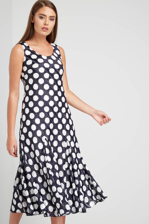 Roman Originals Women/'s Blue Spot Print Satin Bias Dress Sizes 10-20