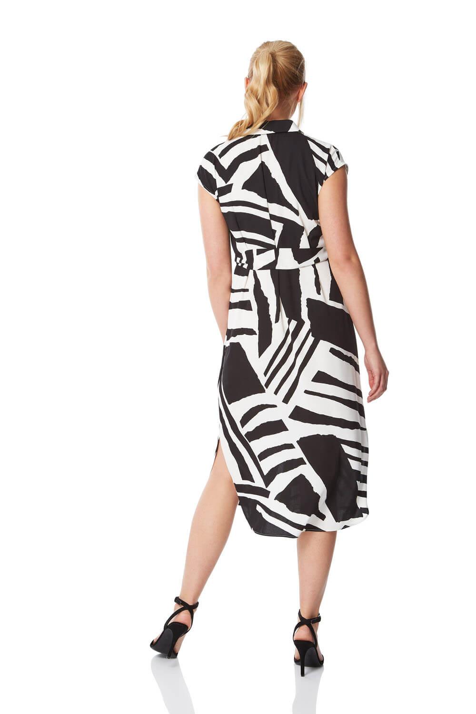 Abstract Print Belted Shirt Midi Dress Casual Summer Roman Originals Women