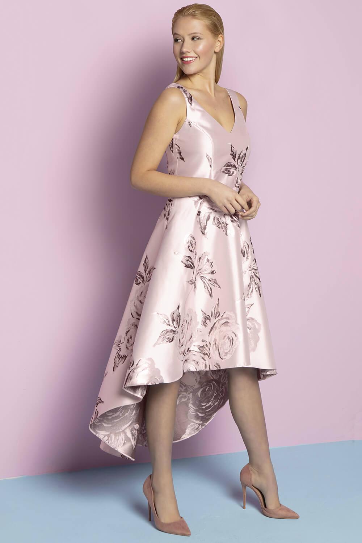 Roman Originals Women Metallic Jacquard Floral Asymmetric Dress Ladies