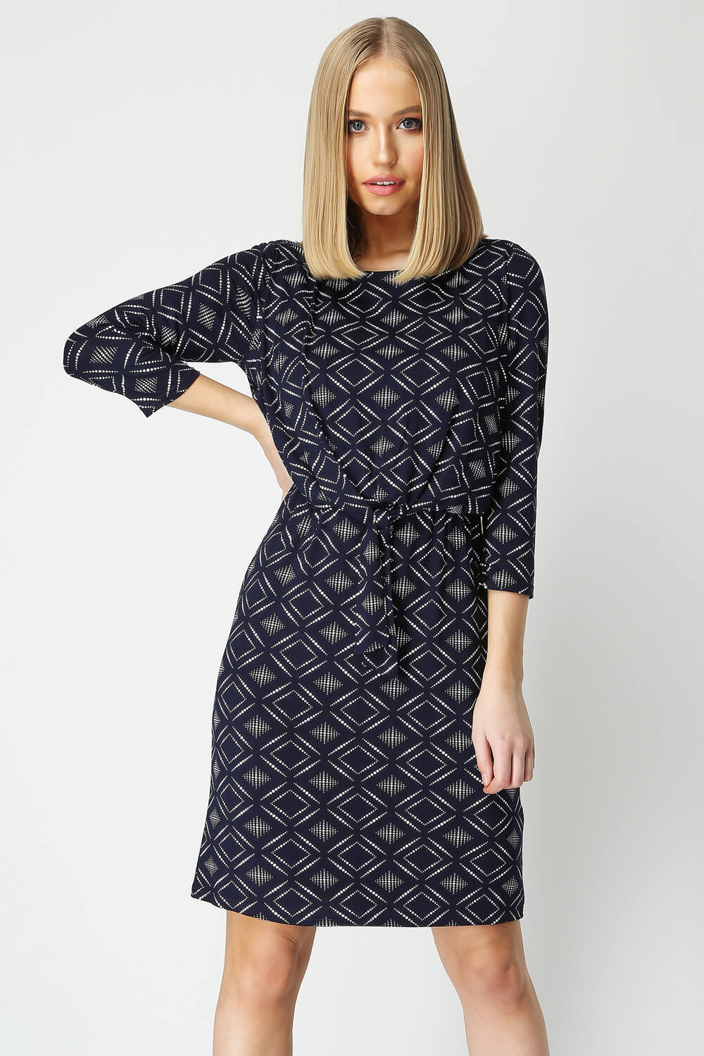 Roman Originals Geo Print Knot Front Dress