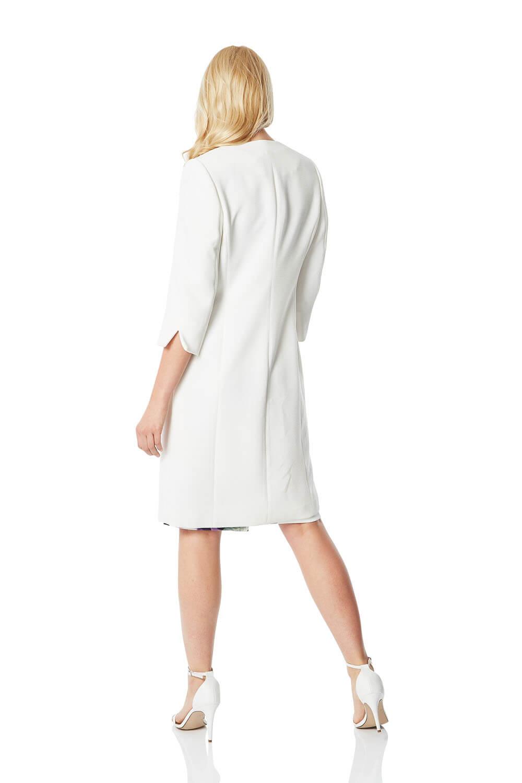 Roman Originals Womens Smart 3//4 Sleeves Textured Dress Coat