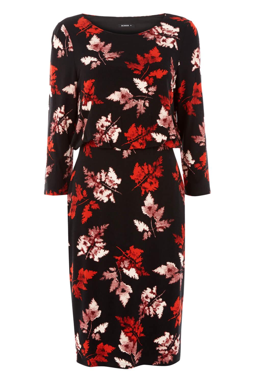 Roman-Originals-Women-Leaf-Print-Blouson-Dress-Ladies-Everyday-Smart thumbnail 10