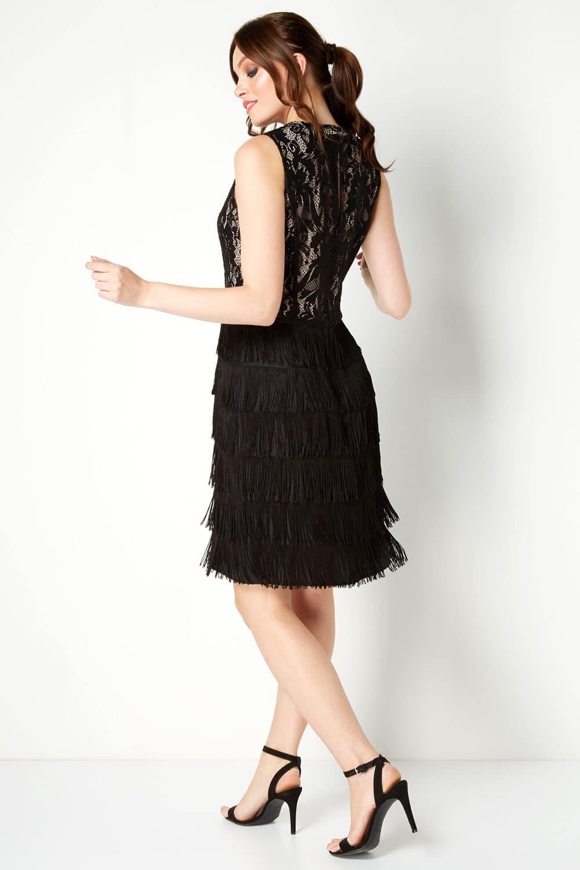 thumbnail 16 - Roman-Originals-Womens-Lace-Flapper-Tassels-Dress-in-Black-Sizes-10-20