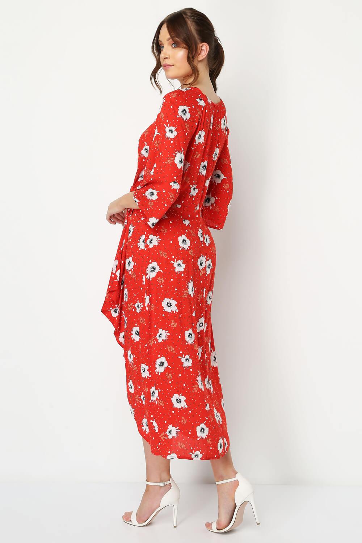 Roman-Originals-Women-Red-Floral-Knot-Waist-Maxi-Dress thumbnail 7