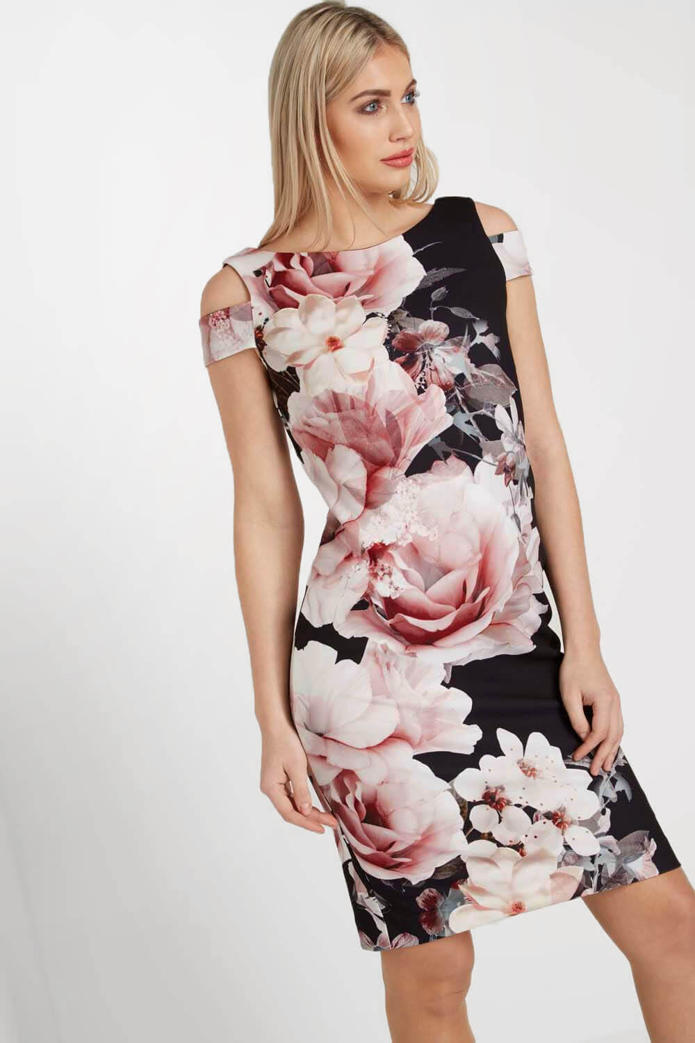 Roman-Originals-Women-039-s-Black-Floral-Print-Scuba-Dress-Sizes-10-20 thumbnail 8