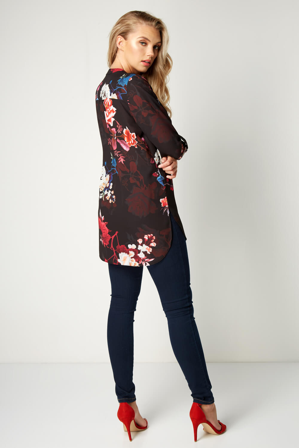 Roman-Originals-Women-039-s-Floral-3-4-Sleeve-Blouse-Everyday-Dressy-Occasions