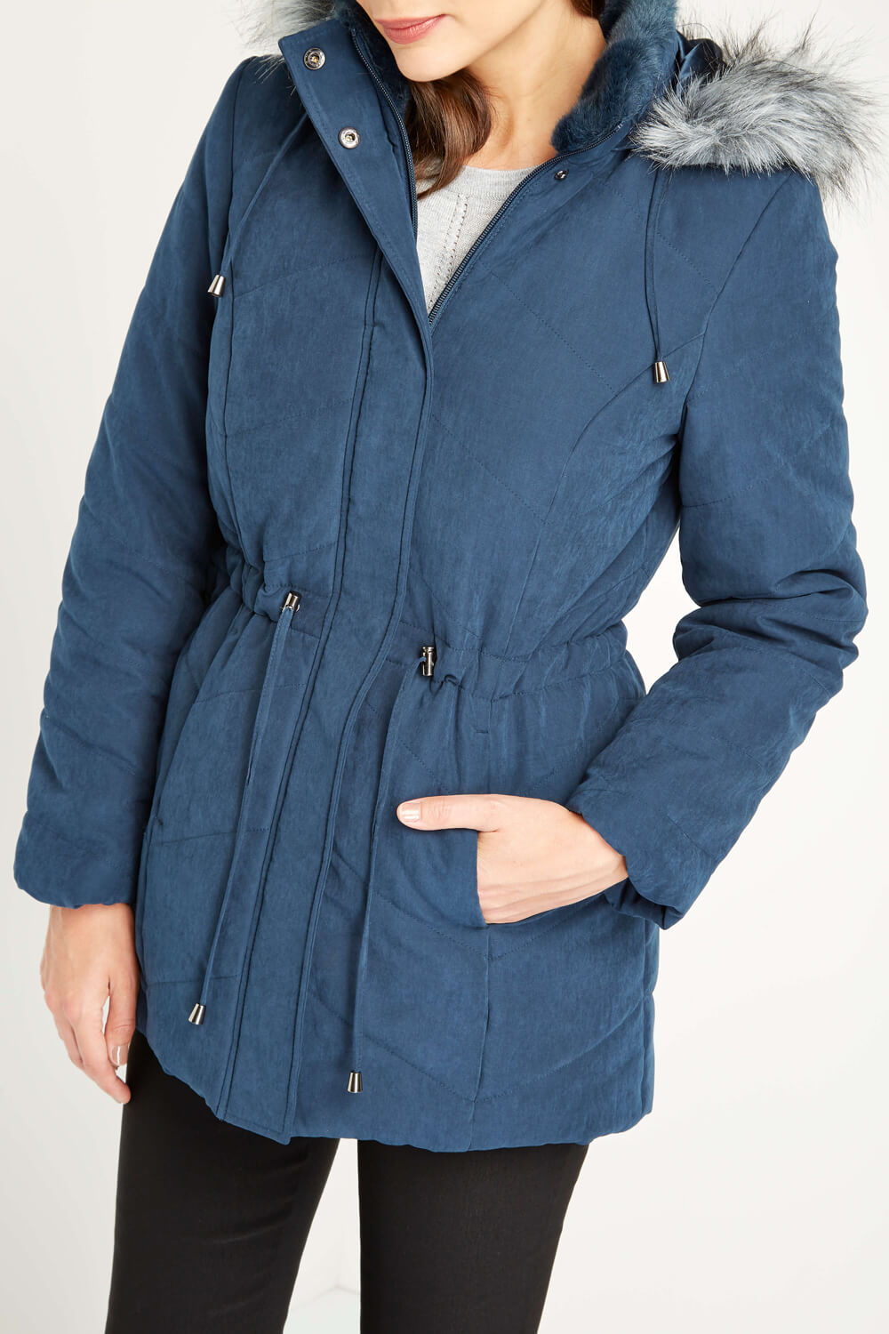 Roman-Originals-Women-039-s-Blue-Quilted-Parka-Coat-with-Hood-Sizes-10-20 thumbnail 17