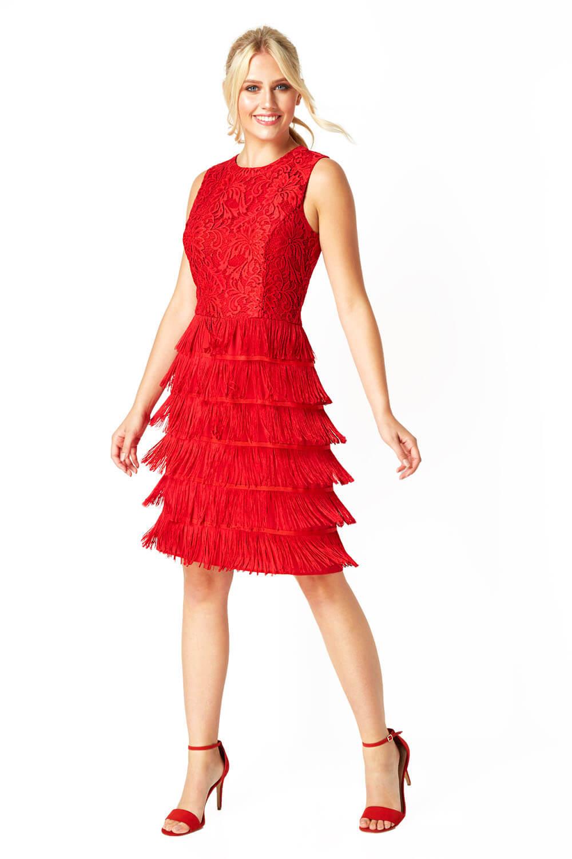 thumbnail 20 - Roman-Originals-Womens-Lace-Flapper-Tassels-Dress-in-Black-Sizes-10-20