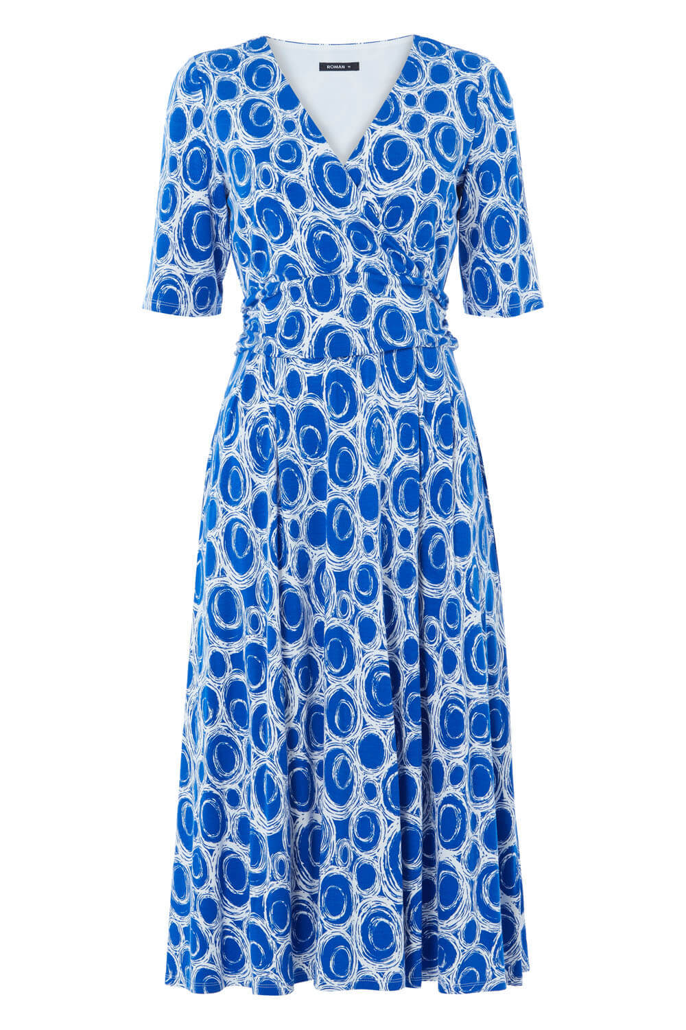 Roman-Originals-Short-Sleeve-Printed-Fit-and-Flare-Dress thumbnail 14