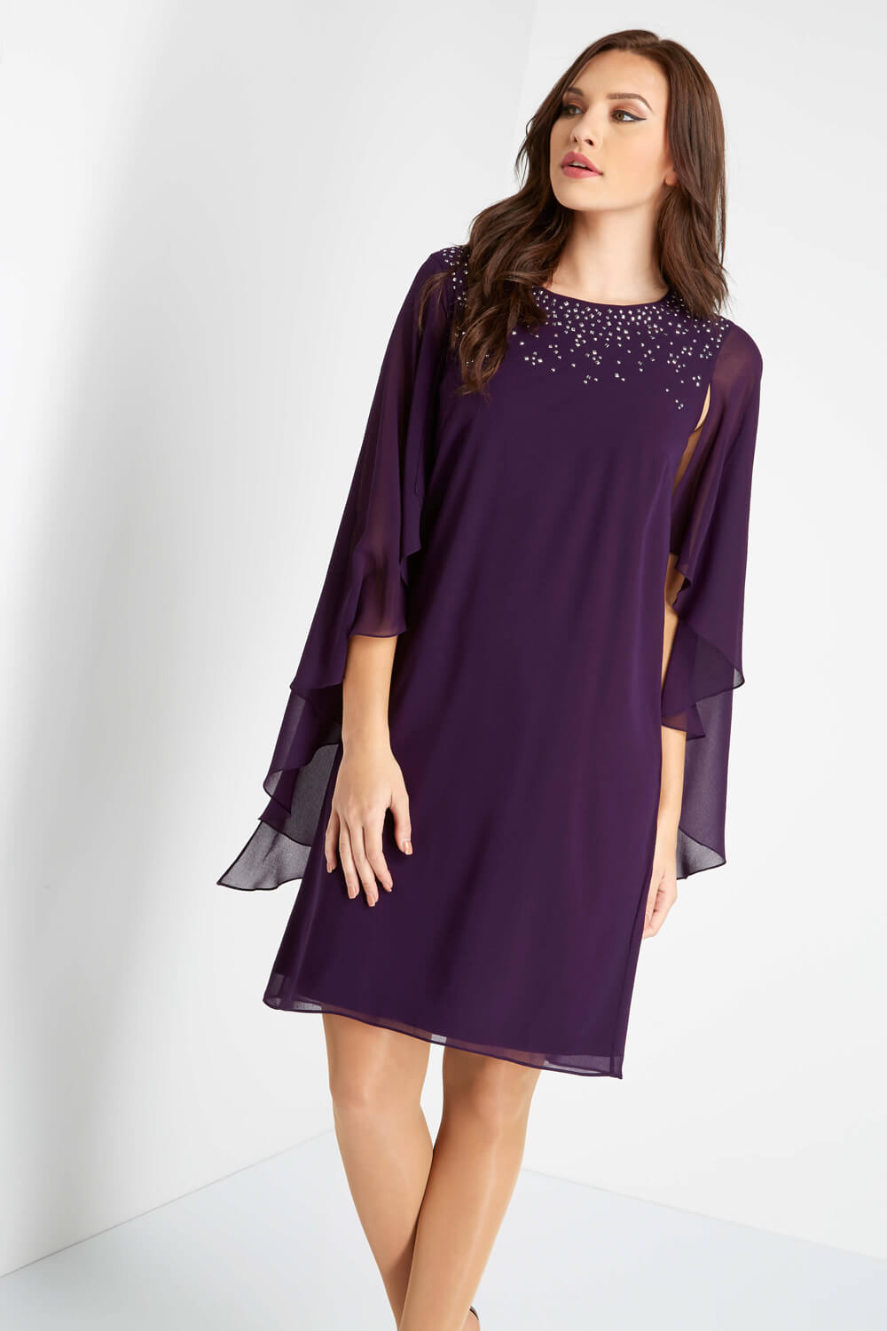 Roman-Originals-Ladies-Embellished-Chiffon-Cape-Dress-Purple thumbnail 7