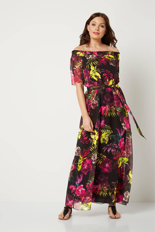 Roman-Originals-Women-039-s-Floral-Bardot-Maxi-Dress-Sizes-10-20 thumbnail 9