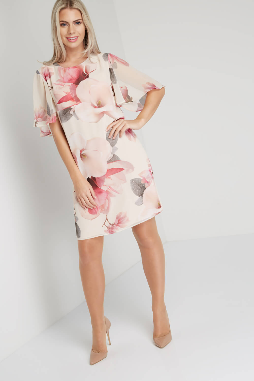 Roman-Originals-Women-039-s-Pink-All-Over-Floral-Print-Chiffon-Dress-Sizes-10-20 thumbnail 9