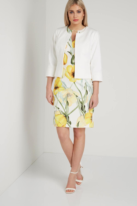 Roman-Originals-Women-039-s-White-Tailored-Jacquard-Jacket-Sizes-10-20 thumbnail 11