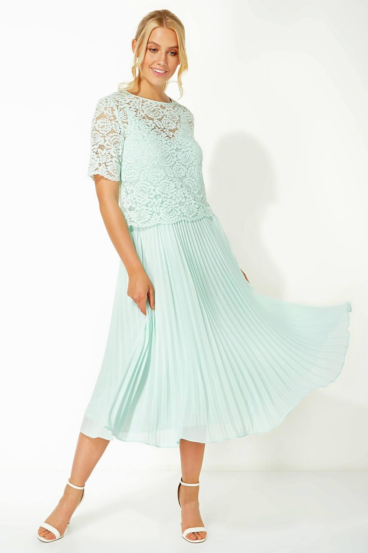Roman-Originals-Women-Lace-Top-Overlay-Pleated-Dress thumbnail 35