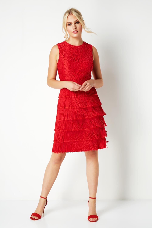 thumbnail 25 - Roman-Originals-Womens-Lace-Flapper-Tassels-Dress-in-Black-Sizes-10-20