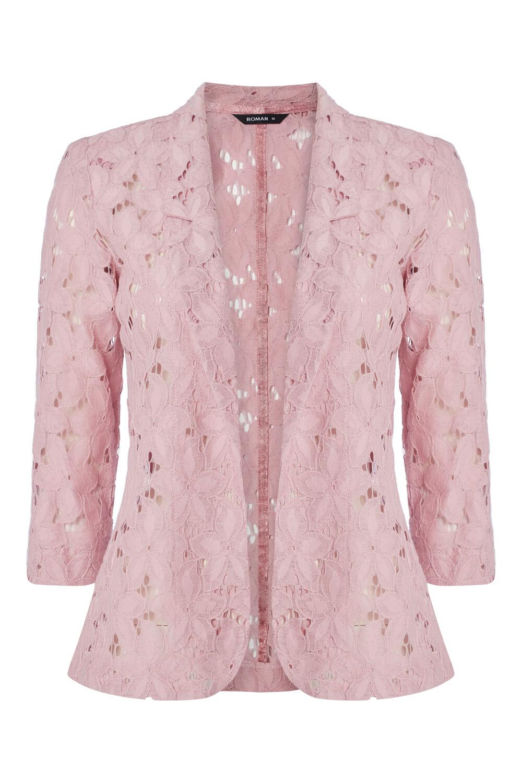 Roman-Originals-Womens-Rose-Pink-Floral-Lace-Jacket-Sizes-10-20 thumbnail 28