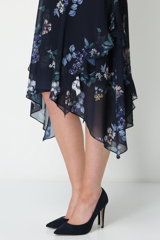 Roman-Originals-Women-Floral-Hanky-Hem-Ruffle-Dress thumbnail 11