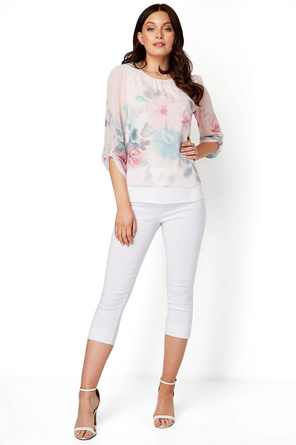 Roman-Originals-Womens-3-4-Length-Sleeve-Floral-Overlay-Top thumbnail 14