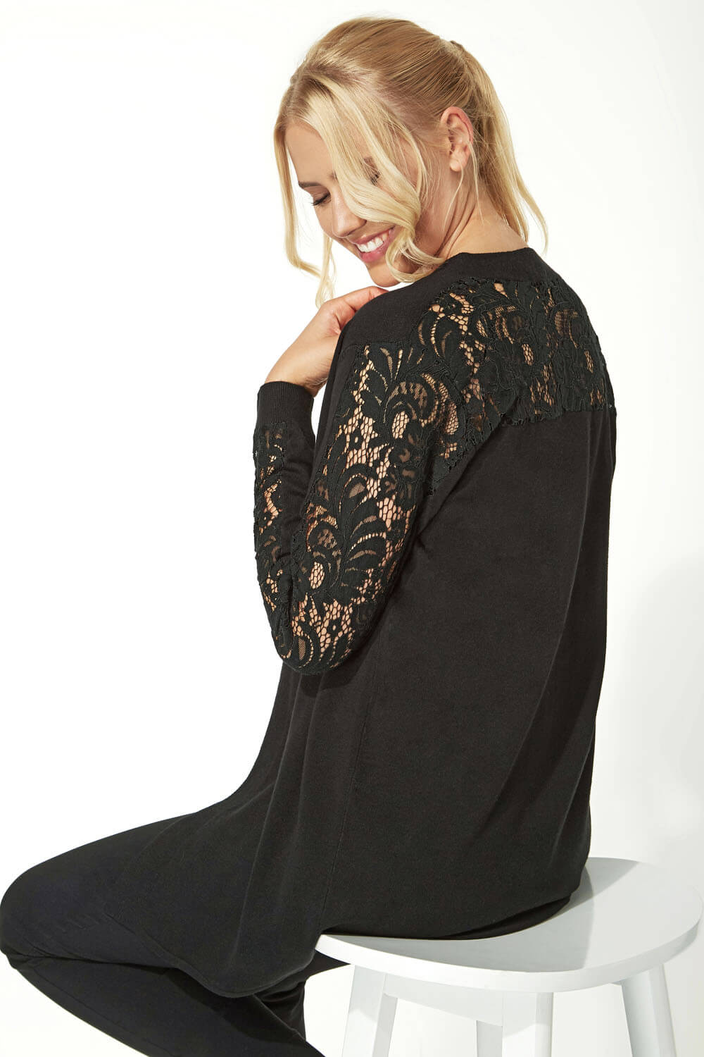 Longline-Long-Sleeve-Lace-Back-Cardigan-Women-Roman-Originals thumbnail 14