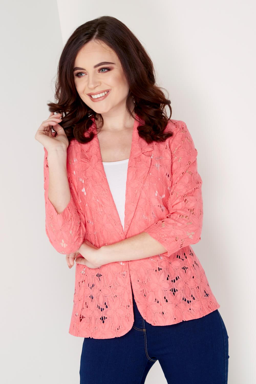 Roman-Originals-Womens-Rose-Pink-Floral-Lace-Jacket-Sizes-10-20 thumbnail 14