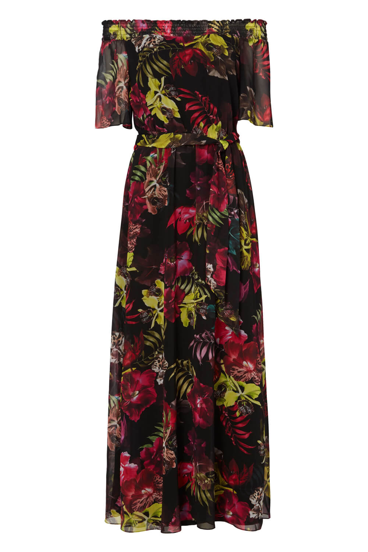 Roman-Originals-Women-039-s-Floral-Bardot-Maxi-Dress-Sizes-10-20 thumbnail 12