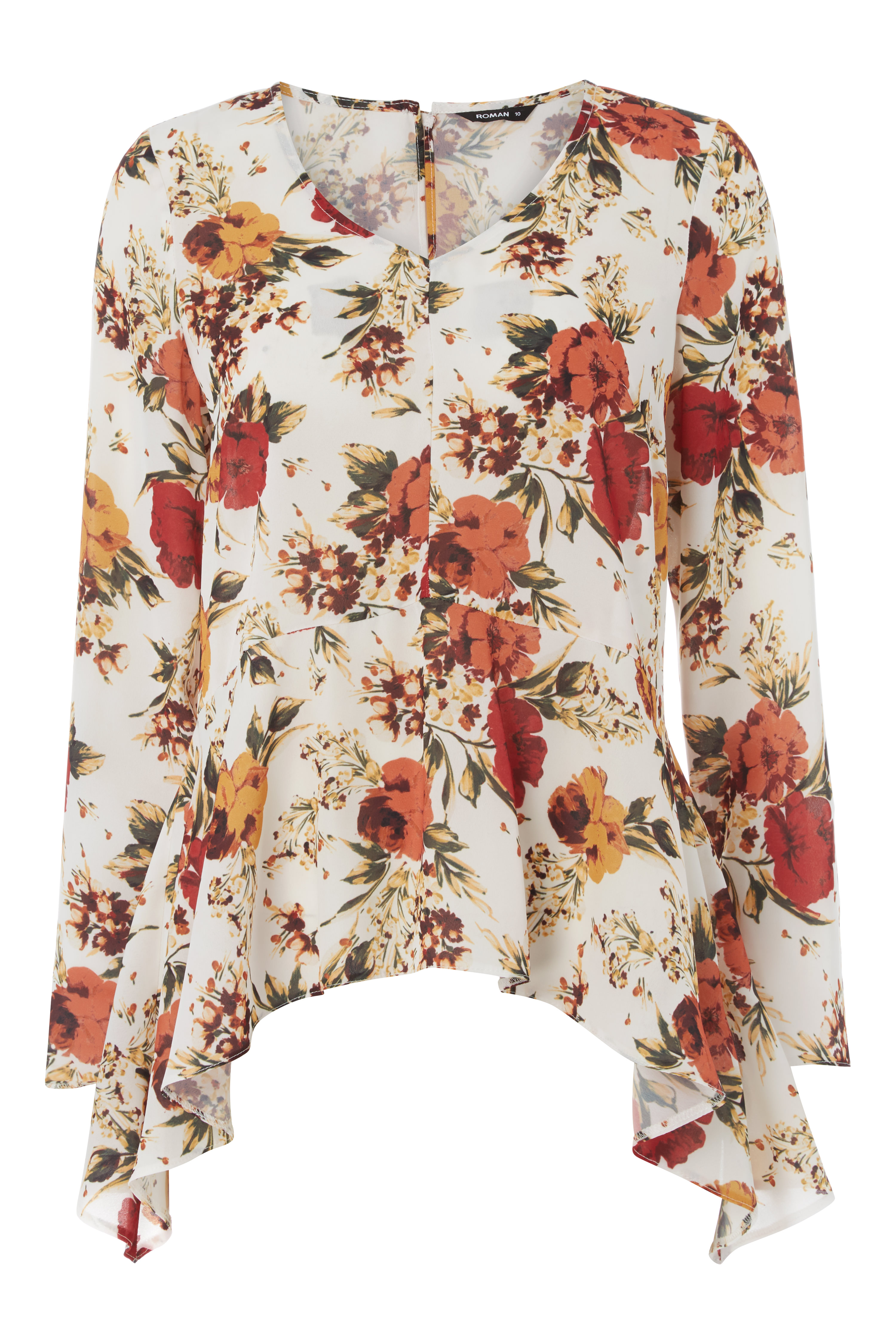Roman-Originals-Femme-Boho-Peplum-Floral-Haut-Tailles-10-20 miniature 9