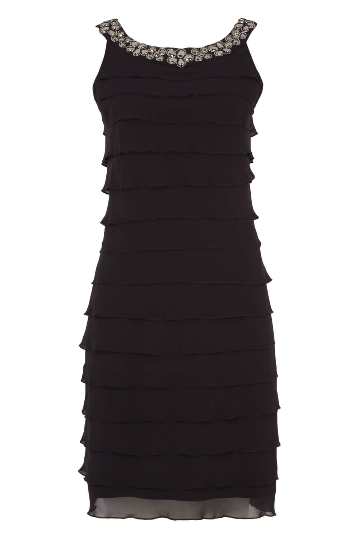 Roman-Originals-Women-039-s-Black-Embellished-Chiffon-Frill-Dress-Sizes-10-20 thumbnail 10