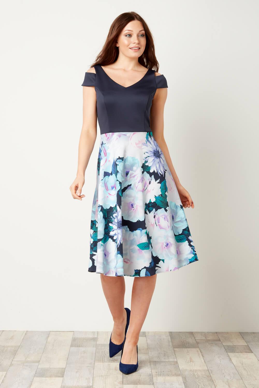 Roman-Originals-Women-039-s-Floral-Print-Fit-and-Flare-Scuba-Dress-Sizes-10-20 thumbnail 6
