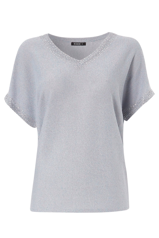 Roman-Originals-Women-039-s-Embellished-Batwing-T-shirt thumbnail 37