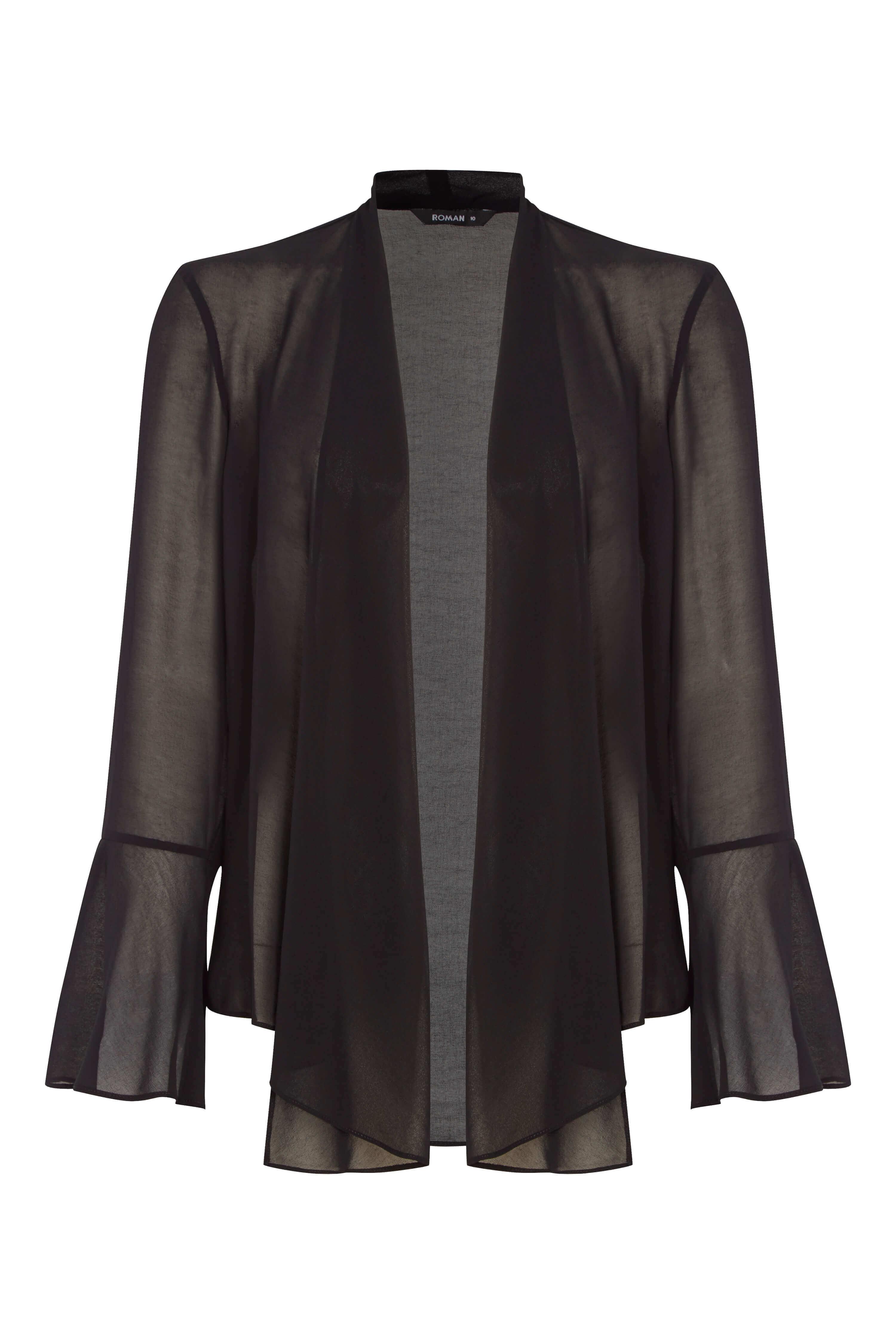 Roman-Originals-Women-039-s-Black-Sheer-Chiffon-Jacket-Sizes-10-20 thumbnail 15
