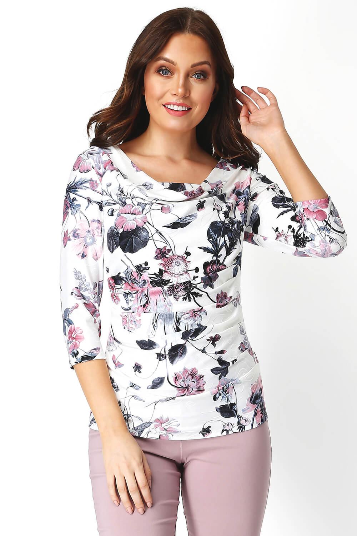 Roman-Originals-Womens-Floral-Cowl-Neck-3-4-Length-Sleeves-Floral-Top thumbnail 11