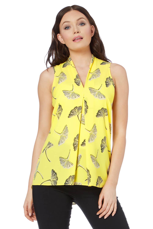 Roman-Originals-Women-039-s-Yellow-V-Neck-Printed-Sleeveless-Top-Sizes-10-20
