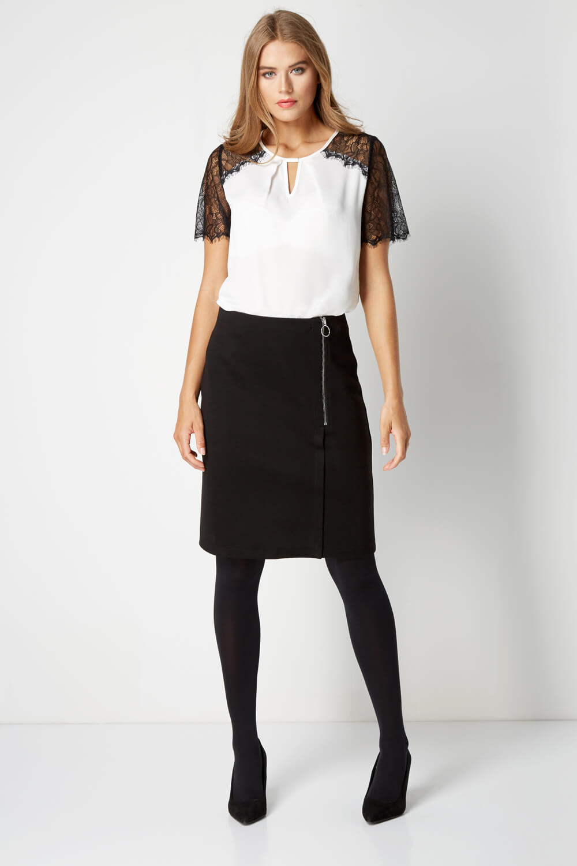Roman-Originals-Women-Ponte-Zip-Skirt-in-Black-sizes-10-20 thumbnail 7
