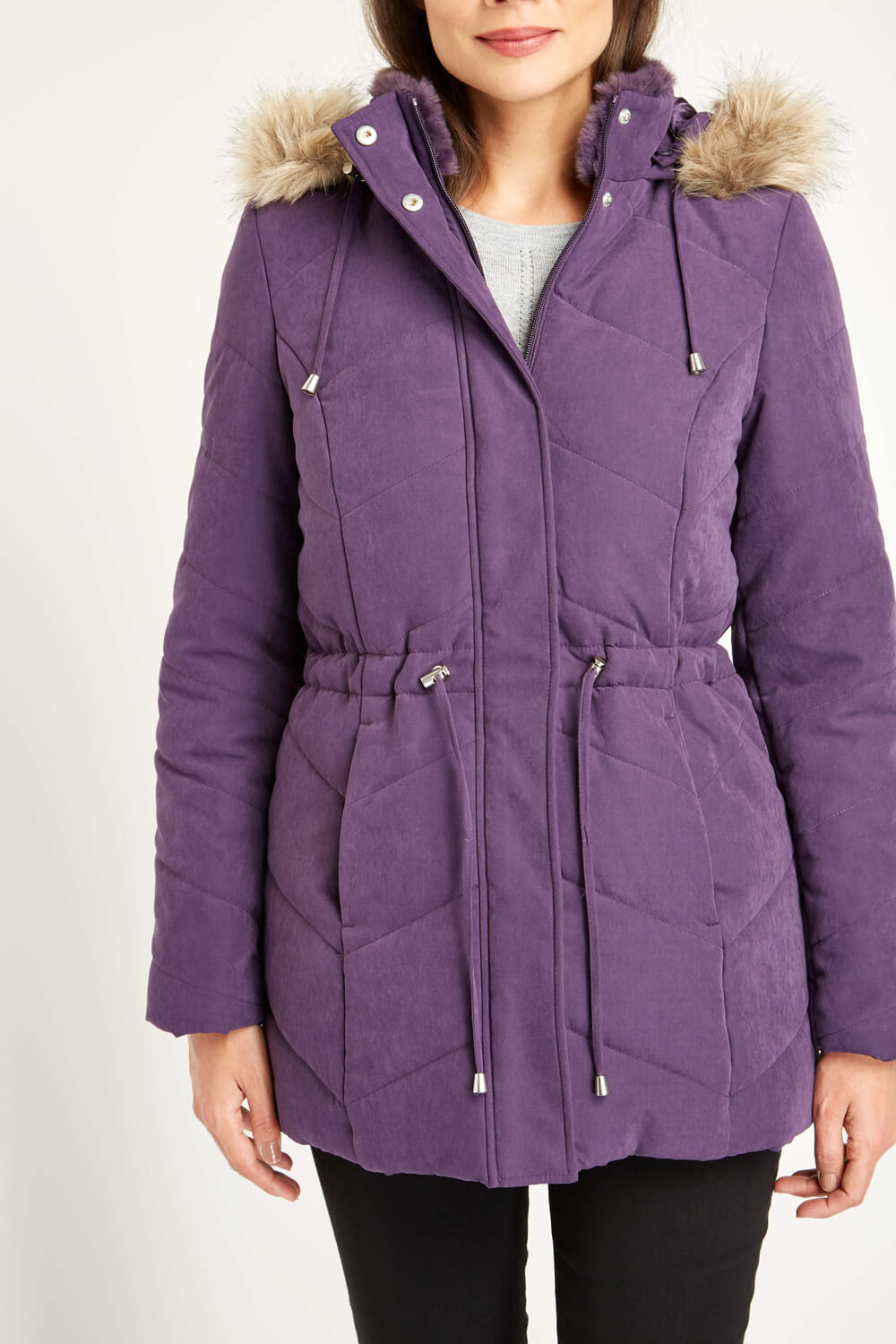 Roman-Originals-Women-039-s-Blue-Quilted-Parka-Coat-with-Hood-Sizes-10-20 thumbnail 25