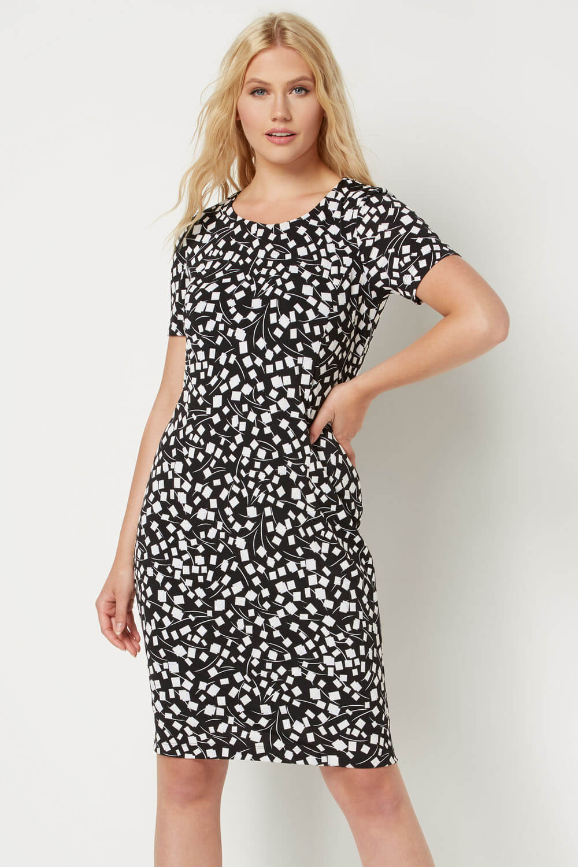 Roman-Originals-Womens-Black-Short-Sleeve-Printed-Dress-Sizes-10-20 thumbnail 13