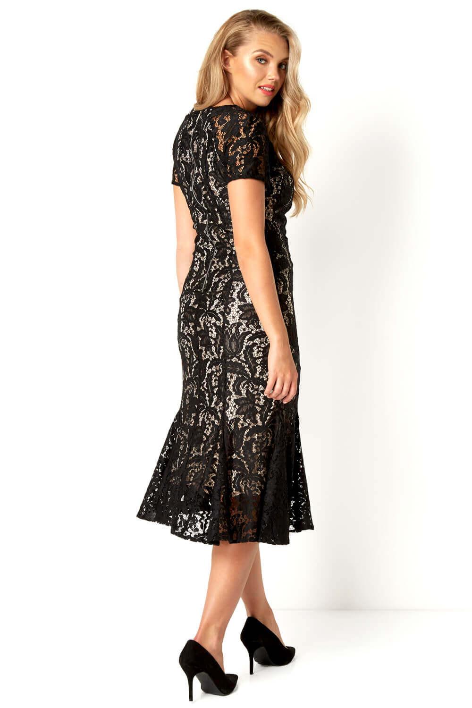 Roman-Originals-Women-039-s-Lace-Flute-Hem-Midi-Dress thumbnail 16