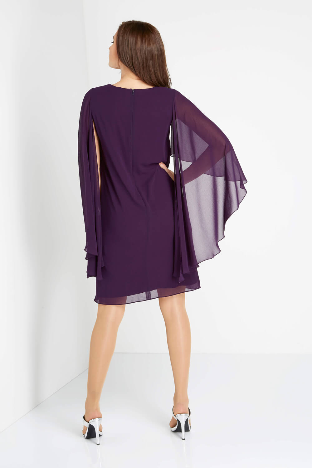 Roman-Originals-Ladies-Embellished-Chiffon-Cape-Dress-Purple thumbnail 8