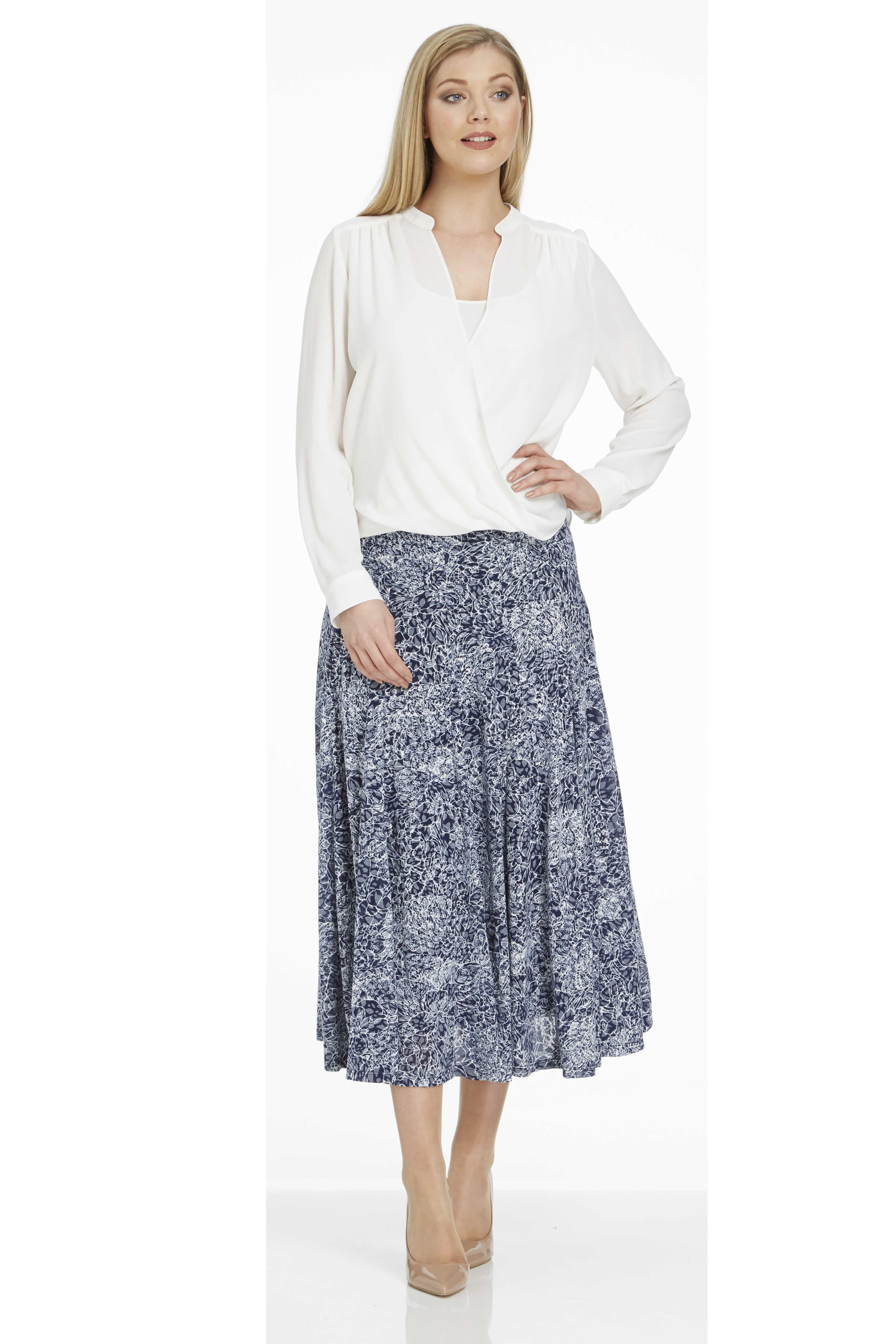 Roman-Originals-Ladies-Floral-Burnout-Skirt-Navy