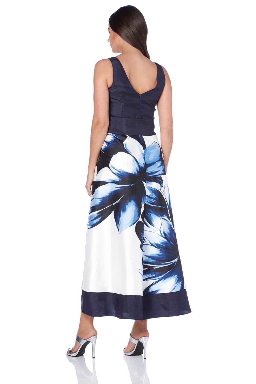 Roman Originals Woherren Blau Floral Floral Floral Placement Maxi Dress Größes 10-20 867c7d
