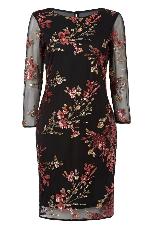 Roman-Originals-Women-039-s-Floral-Embroidered-Mesh-Overlay-Dress thumbnail 14