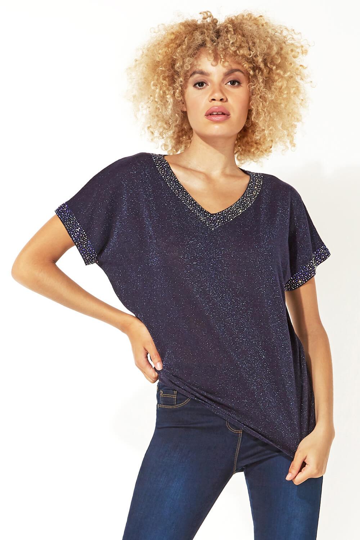 Roman-Originals-Women-039-s-Embellished-Batwing-T-shirt thumbnail 25